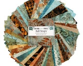 "5"" Charm Squares Bali Snaps Brown Sugar - 40 Handpainted Batiks - FabricFascination"