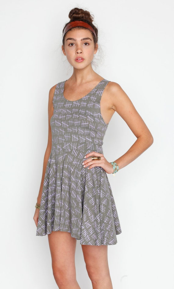 Hand Printed 'Hash Marks' Twirling Dress in Lavender on Fern