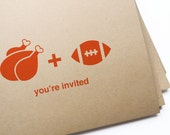 12 Turkey & Football Invites, Thanksgiving Dinner // free personalization and custom colors - girlingearstudio
