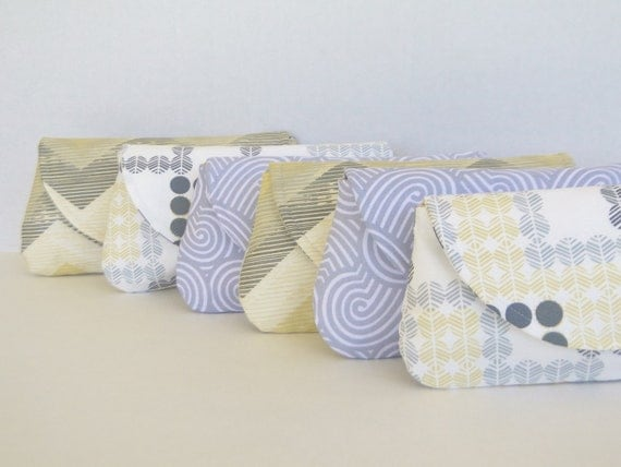 Bridesmaids clutches in yellow and gray, wedding party purse silver, canary, pewter wedding  FREE shipping (U.S.)