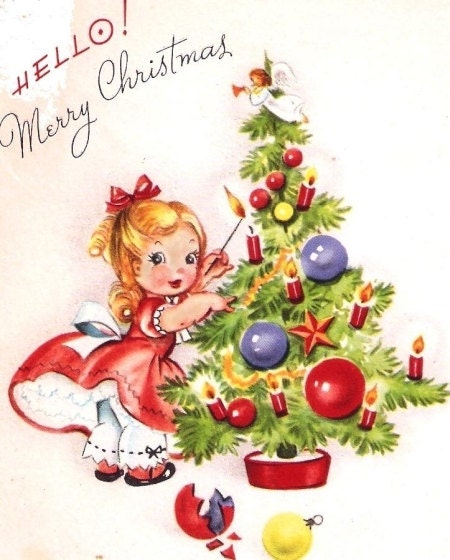 Little Girl Christmas Tree: Little Girl Decorating A Tree Vintage Christmas By PaperPrizes