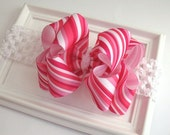Baby Christmas Bow Headband Pink Ribbon Candy Cane Striped Double Layer Boutique Bow with Crochet Style Headband - PinkLemonadeDuxbury