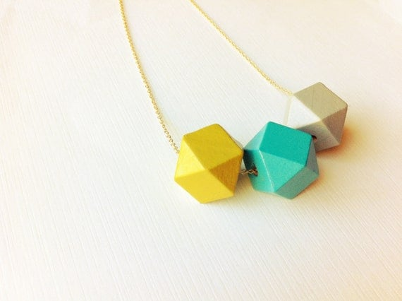 Geometric Painted Wood Necklace / Mustard, Teal, Gray / Bright Color Blocked Jewelry