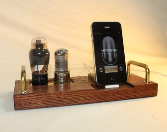 iPhone Dock - iPod Dock - Charger and Sync Station - Tube Model DeLuxe 2 - Oak - steampunk
