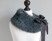 SALE 10% OFF Grey fur collar