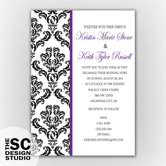 Elegant Damask Wedding Invitation Customizable Colors Print-At-Home