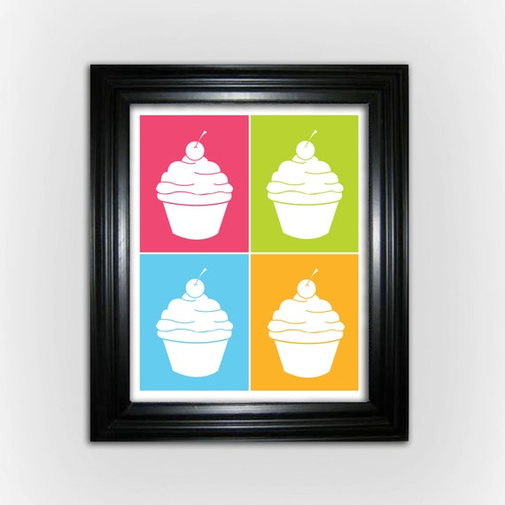Cupcake Digital Print - Cupcake Collage - Printable Art
