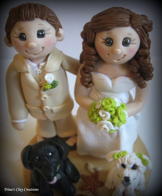 Wedding Cake Topper Bride and Groom with Two Dogs Personalized Polymer Clay Beach Theme topper/keepsake