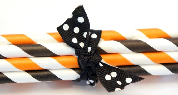 Orange and Black Paper Straws Halloween Paper Straws with Printable Straw Flag PDF