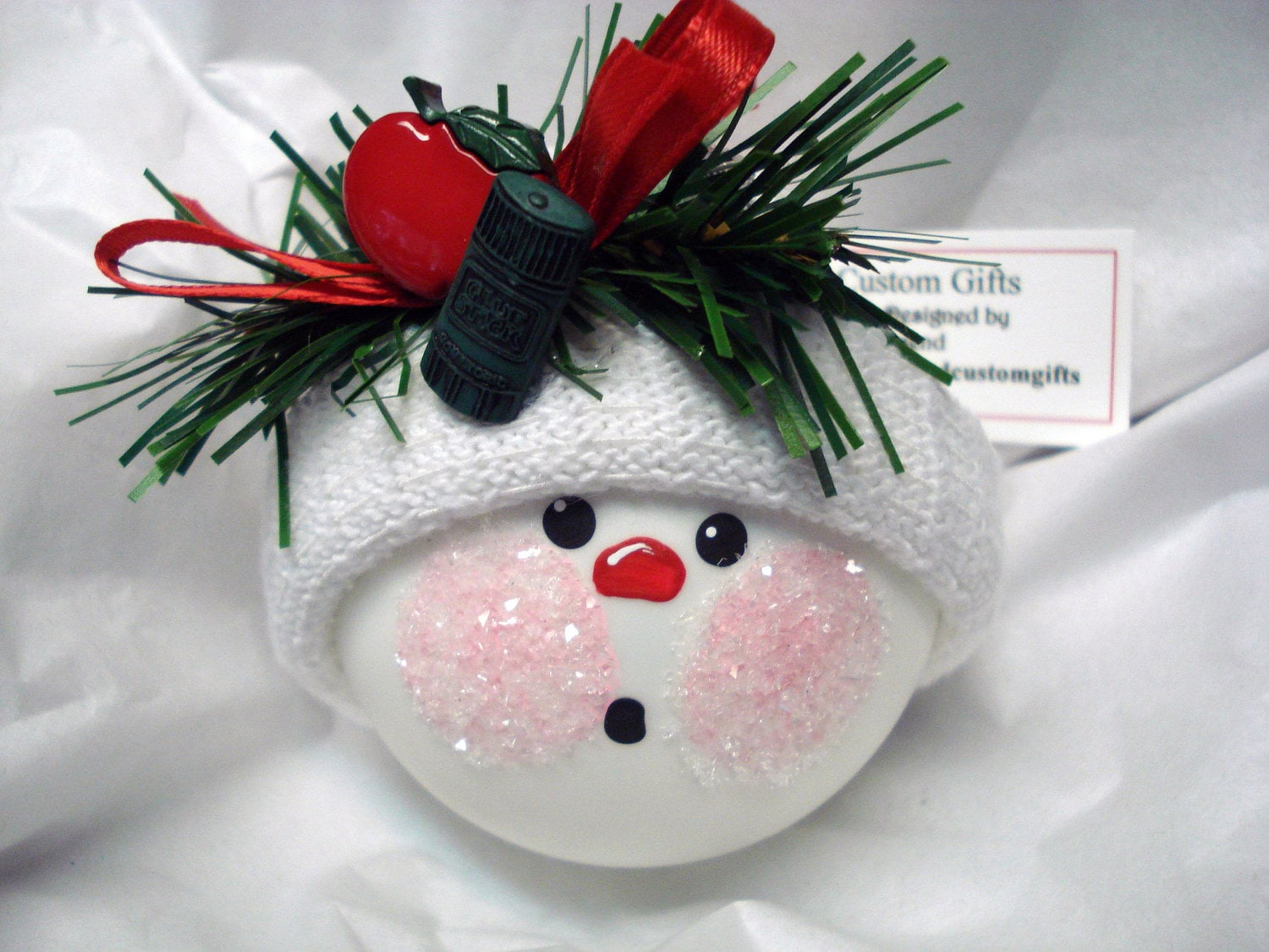 Items similar to Teacher Christmas Ornament Snowball Hand ...