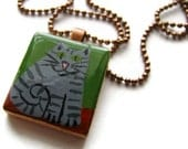 Grey Tabby Painted Scrabble Tile Necklace Hand Painted - Fat Cat - heversonart