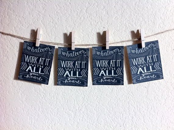 "Bible Verse Art- Whatever You Do Work at it With All Your Heart - Set of 4 Mini Prints - 3 x 3 1/4"" Grace for Grace by Tiffany Rachal"