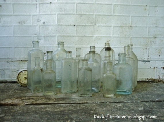 Antique APOTHECARY Bottles - Salvaged Collection of 15