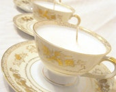Upcycled Vintage Fine China Tea Cup Candle with Gold and White --Unscented - RestlessExpress