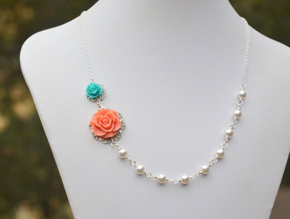 Dainty Coral and Turquoise Rose Asymmetrical White Swarovski Pearl Necklace.  Bridesmaid Necklace.  Bridal Party Jewelry.