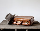 Vintage Leather Luggage / Brown Suitcase - 86home