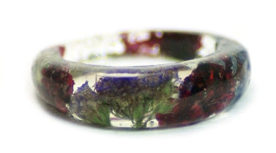 Flower Ring- Purple Ring- Pink Ring-Green Ring-Flower Resin Ring-Resin Jewelry-Real Flower Ring Jewelry-Purple Flowers-Pink Flowers