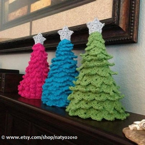 3 Crochet Christmas Tree Decoration - 3 Different Designs with Star Pattern - 3 PDF Crochet Patterns