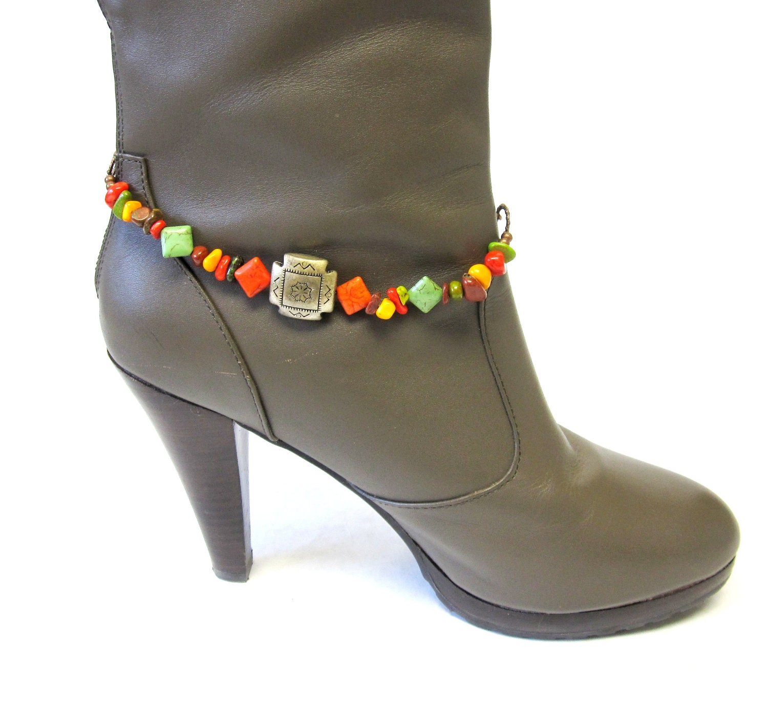 Boot Bracelets on Copper Bracelet Boot Bling Chunky Stone Concho Green Orange Brown