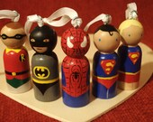 Custom Christmas Super Hero Ornament with Loops and Ribbon  Choose One - IttyBittyWoodShoppe
