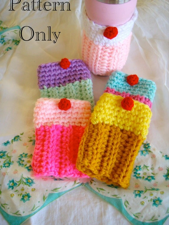 Crochet Cupcake Coffee, Tea or Adult Beverage Cozy PATTERN PDF