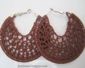 Brown Crochet Hoop earrings-2 inch small