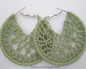 Olive green Crochet hoop earrings - 2 inch small