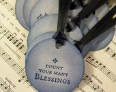 Religious Tags Christian Tags Count Your Many Blessings in Blue