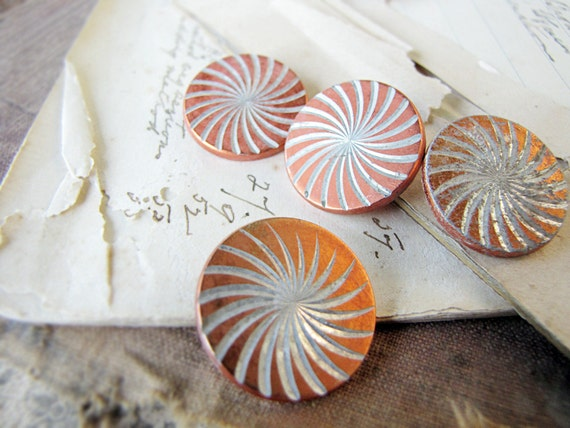 vintage buttons - 1960s anodised aluminium - rustic found in the ground - orange swirl