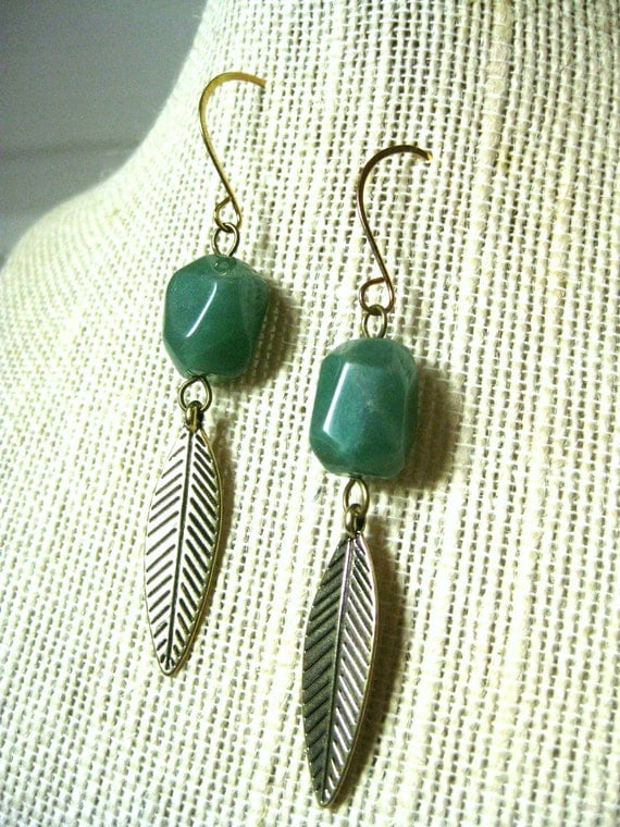 Green Stone and Feather Earrings