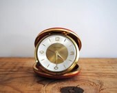 Vintage German Travel Alarm Clock by Seth Thomas Red Pocket Traveling Mid Century - labiblioteca