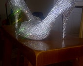 Custom handmade genuine swarovski crystal handmade shoes peep toes