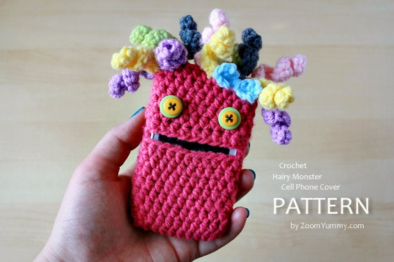 Crochet Pattern Hairy Monster Cell Phone Cover