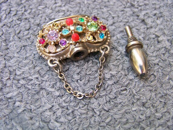 LABOR DAY SALE Antique Victorian Pastes Rhinestone Perfume Posion Pendent Crown