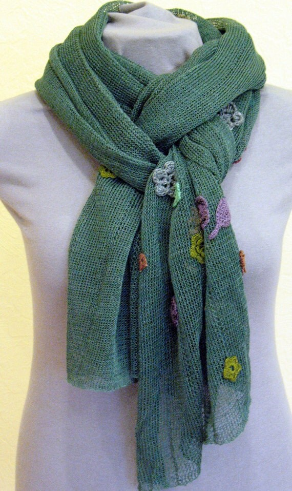 Linen Natural Green Scarf Shawl Wrap Stole , Light, Transparent and Crocheted Flower