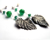 Silver metalwork earrings, hand made birch leaf, green Onyx, woodland romantic pagan, natural - NurrgulaJewellery