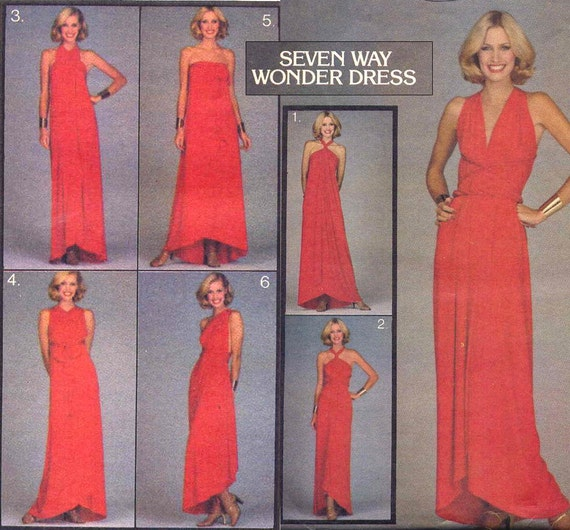 Vintage Seven Way Wonder Dress Butterick 5230 Sewing Pattern--Amazing 1970s Multi Wrap Dress UNCUT