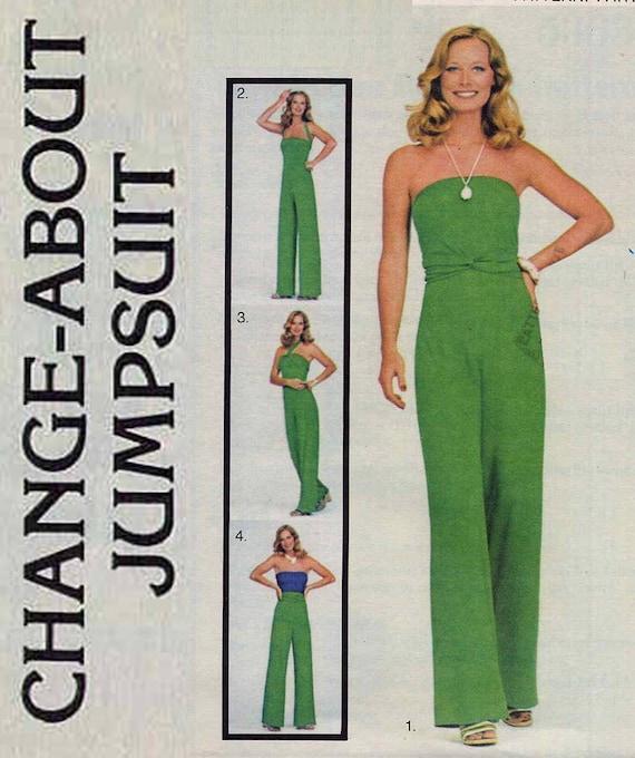Disco 70s Butterick 5363 Multi Wrap Jumpsuit Vintage Sewing Pattern Change About Waist 26.5