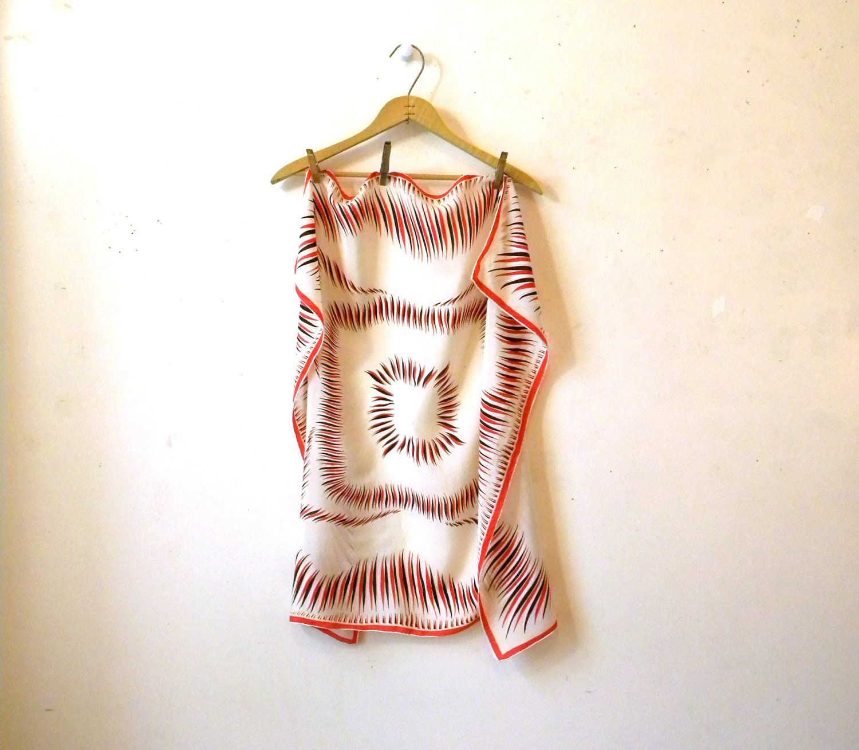 Vintage Silk Scarf  Square Geometric Black Red White  Excellent Washing Vintage Silk Scarves