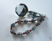 Gray Cyrstal and Red Beads