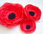 Red Hair Flowers (3 pcs) Red and Black  Hair Accessories Red Head  Piece Anemones Bridesmaids Gift