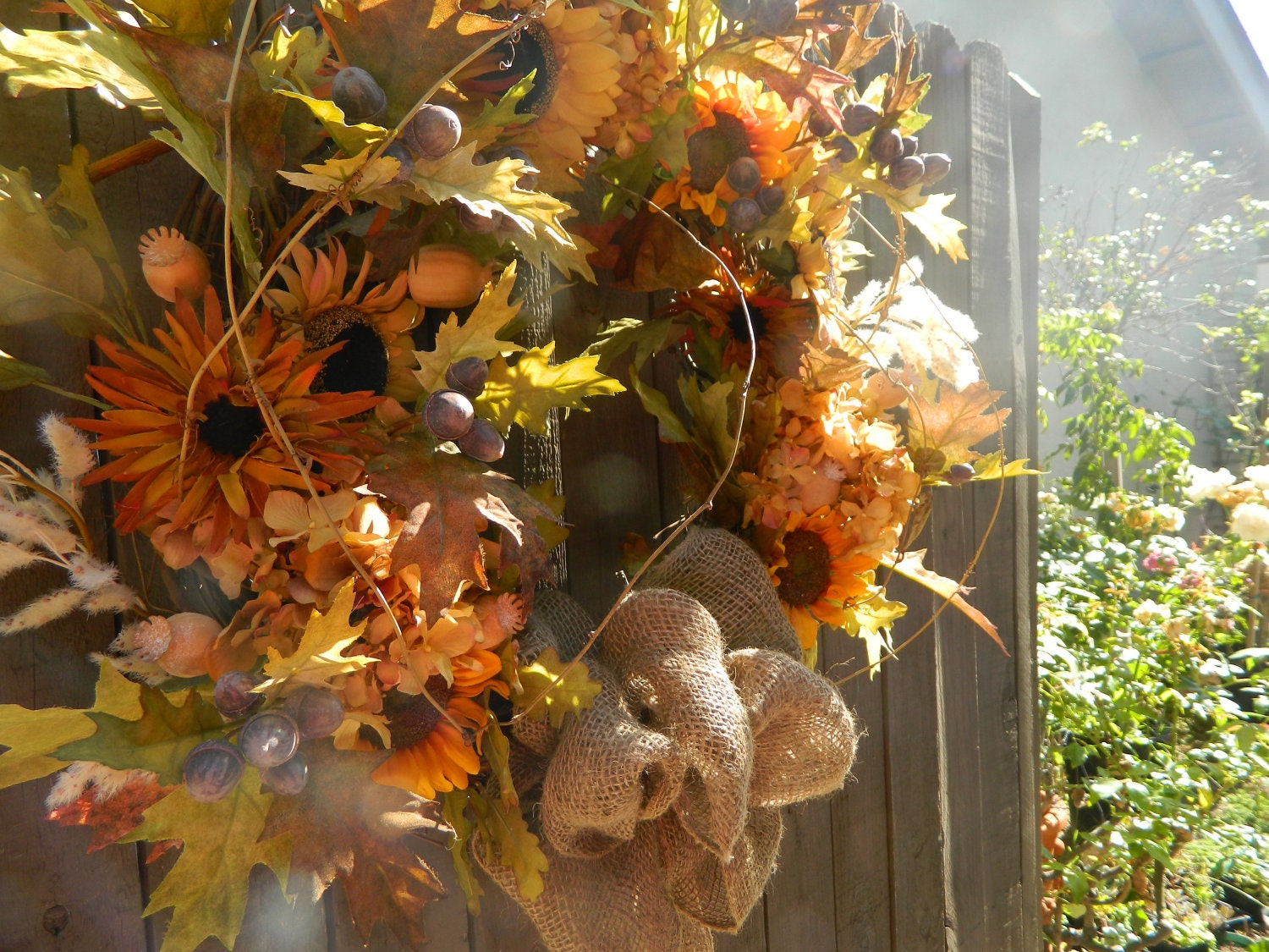 Sunflower home decor dream house experience Fall autumn door wreaths