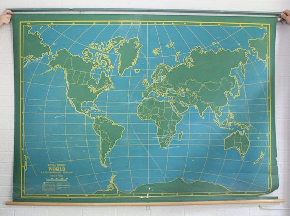 Vintage Two-Sided Chalkboard School Map - United States & World Pull Down/Classroom Map