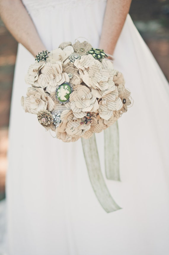 Reserved -- Custom Paper Flower, Burlap, and/or Brooch Bouquet Deposit