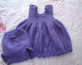 Purple Dress and Bloomers Size 2 Hand Knit Jumper Dress and Diaper Cover Baby/Toddler Holiday Outfit - Girlpower