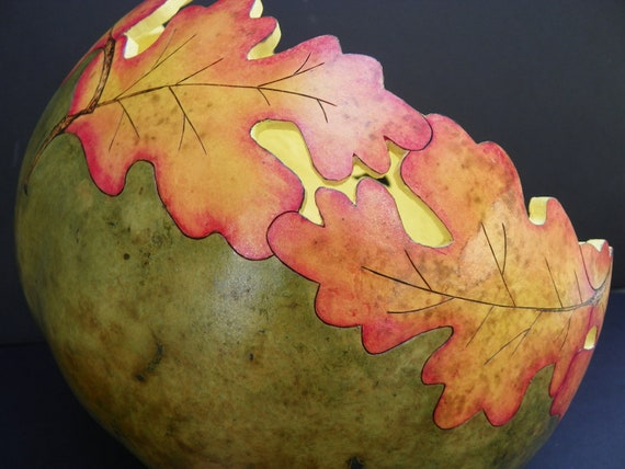 painted gourd bowl gourd art leaf leaves