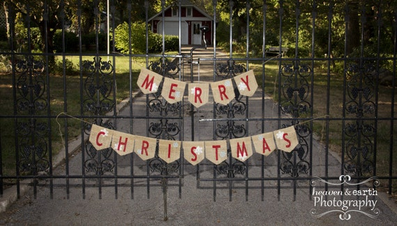 Merry Christmas Burlap Banner  / Christmas Photography Prop / Mantel Decor
