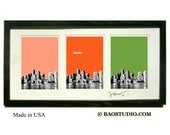 3x Boston Skyline  -  Framed Pop Art Signed Dated Made in USA Boston Massachusetts Art print - PineShore