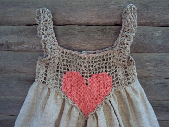 Organic, Hand Crocheted Baby Love Sundress./crochet baby linen dress/rustic baby sundress