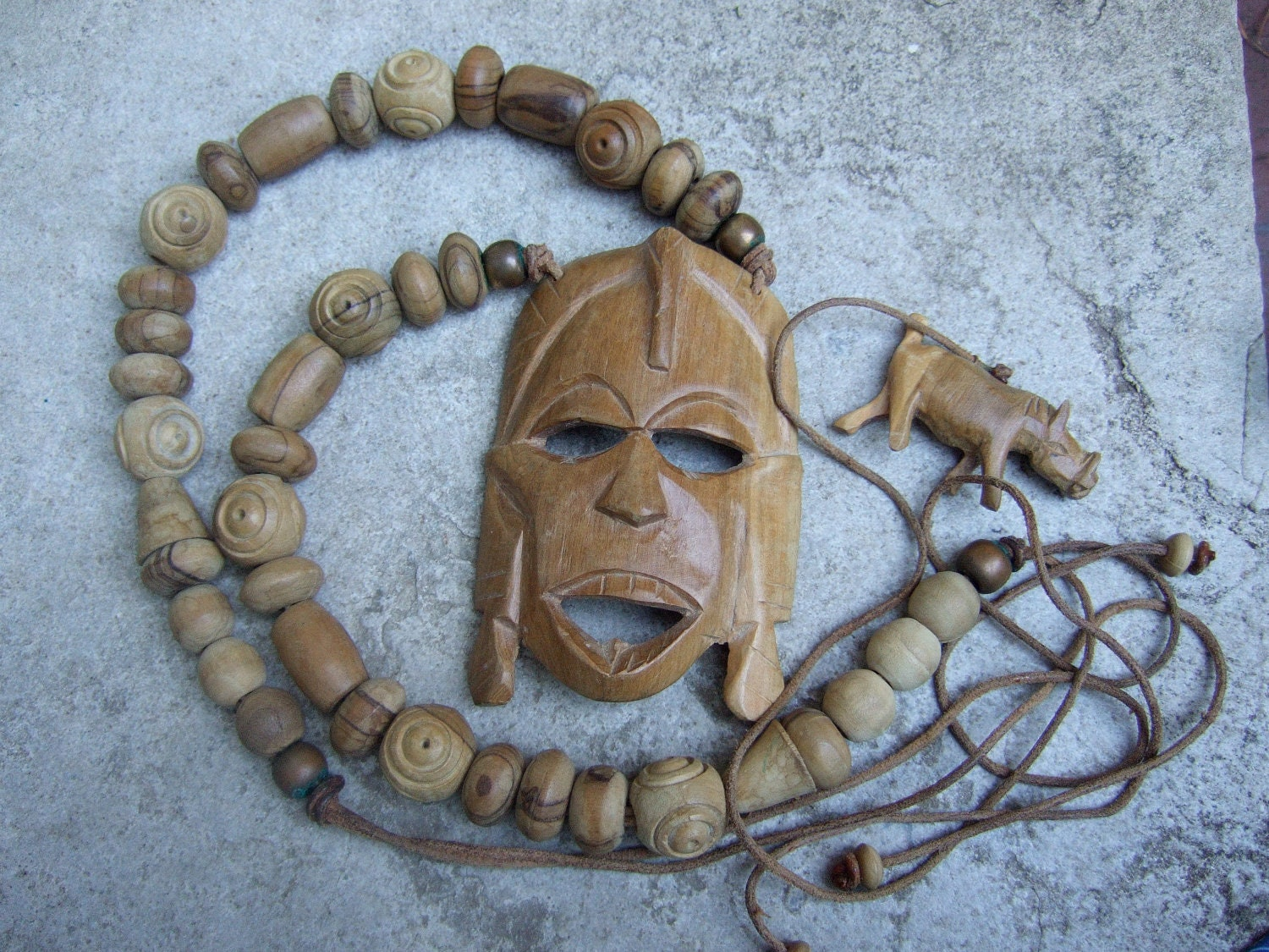 Unique Tribal Wood Beaded Pendant Necklace